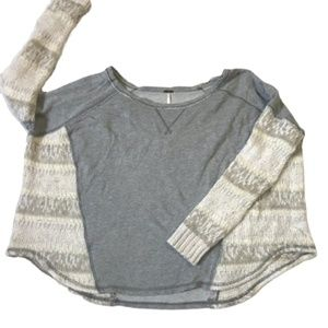 Free People Contrast Texture Gray Sweat Shirt Sz S